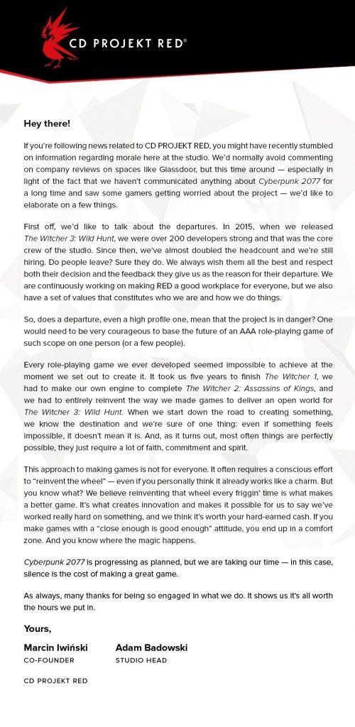 خروج کارمندان از «CD Projekt RED» مشکلي در ساخت عنوان «Cyberpunk 2077» به وجود نخواهد آورد